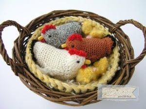 Szydełkowe zwierzątka kury
